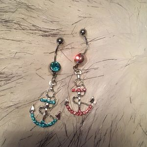 GORGEOUS BLING BLUE & PINK ANCHOR BELLY RING 2PK